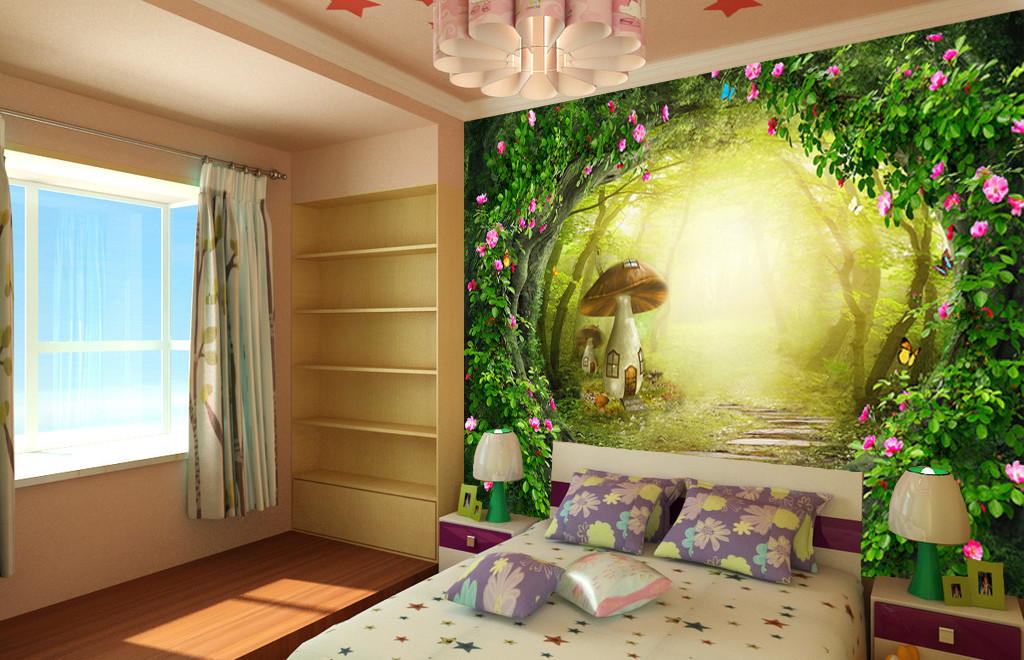Une chambre pour enfant th me for t deco in - Decoration chambre theme paris ...