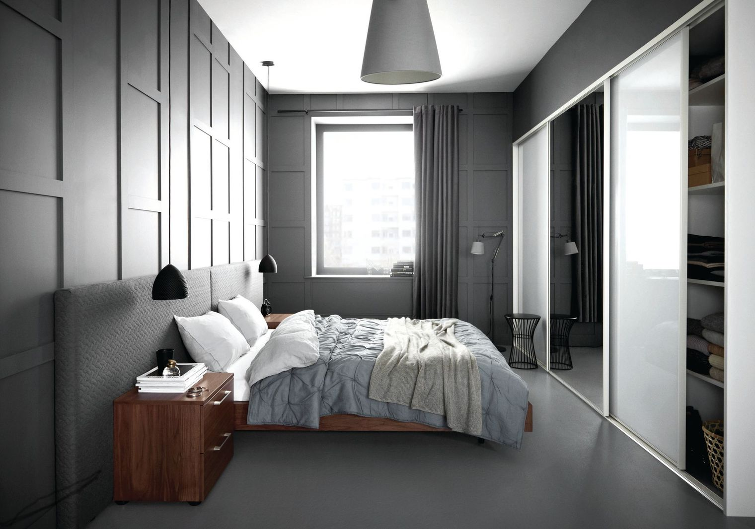 un rideau de chambre th me gris deco in. Black Bedroom Furniture Sets. Home Design Ideas