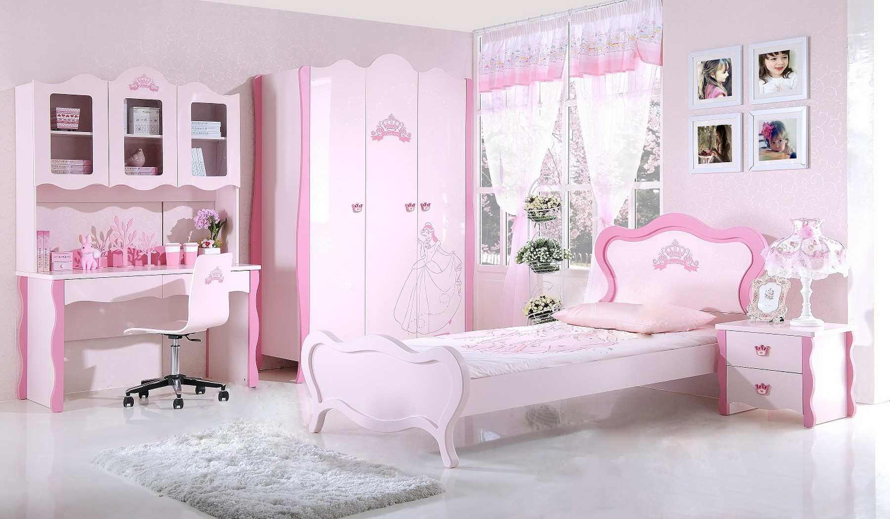 chambre petite fille princesse avec des. Black Bedroom Furniture Sets. Home Design Ideas